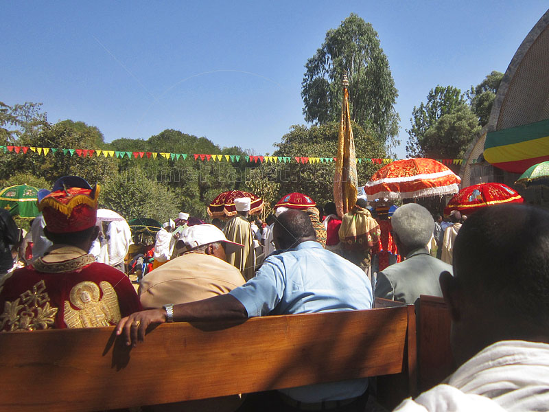 Procession to the replacement Chapel of the Tablet assembles
