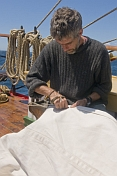Buddy sail-making on the quarterdeck