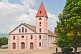 The pink-painted Church of the Catholic Mission.