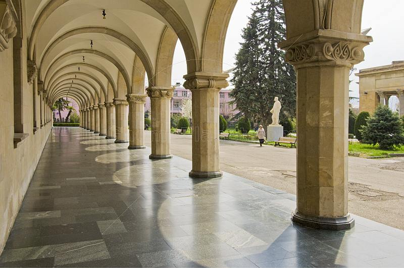 Colonaded marble walkway at the Joseph Stalin Museum.