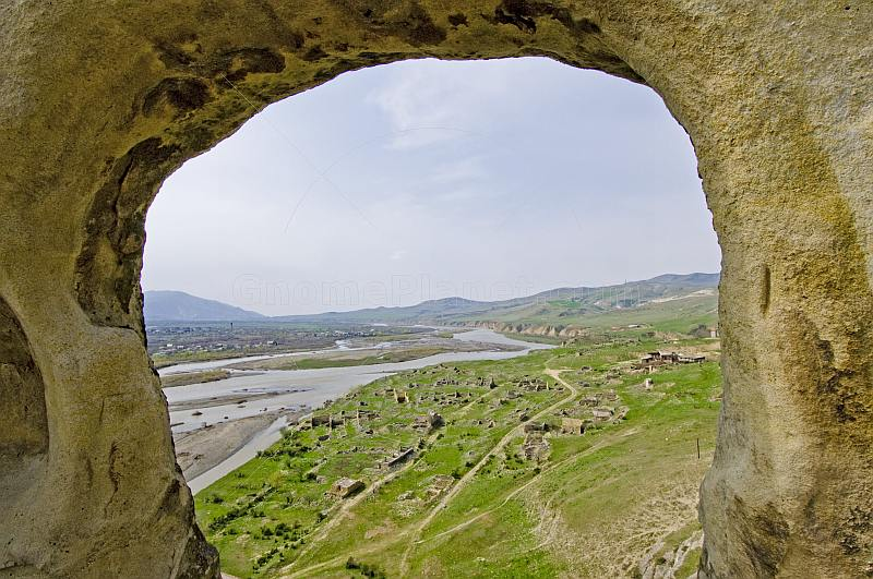 View over the cave-city of Uplistsikhe to the Mtkvari River, near Gori.