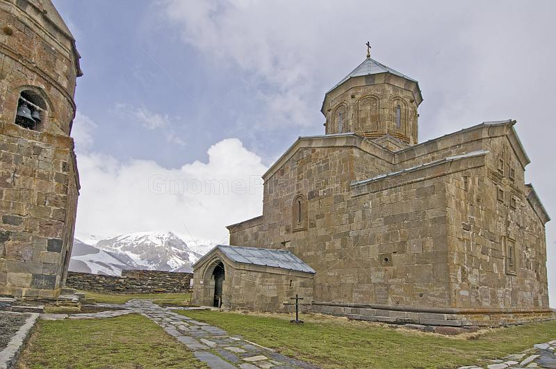 The Tsminda Sameba Monastery, in the mountains overlooking Kazbegi.