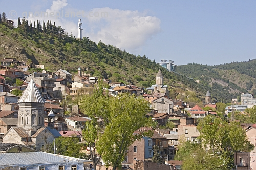 Kartlis Deda - the 20m high Mother of Georgia - looks out over the ancient capital city skyline.