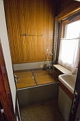 Shower/bathroom in Joseph Stalin\\\\'s personal railway carriage, at the Stalin Museum.