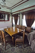 Lounge/dining room in Joseph Stalin\\\\'s personal railway carriage, at the Stalin Museum.
