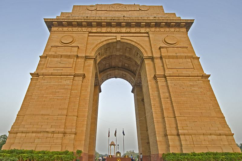 Sunset at the 42m high Lutyens-designed India Gate war memorial.