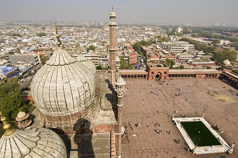 Domes and 40m high minarets of the Jami Masjid contrast the view over the old city.