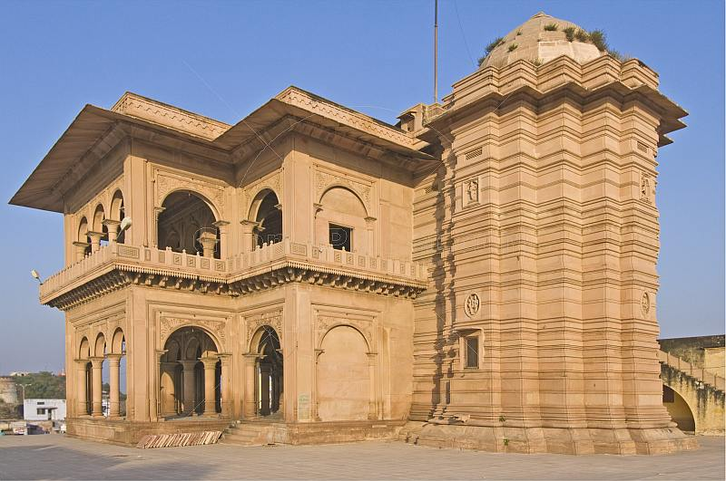 The yellow sandstone Ganga Mandir is a temple that is noted for its fine and detailed carving.