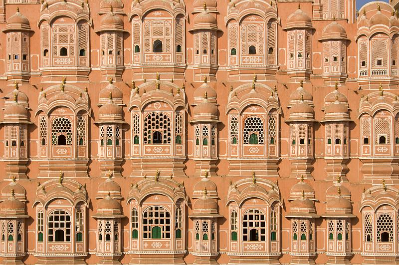 The five-storey Hawa Mahal or Palace of the Winds, part of the Jaipur City Palace, built by Maharaja Mahdo Singh I (1751-68).