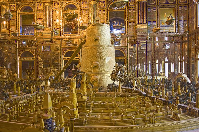 Over 100kg of gold is used in this representation of the Jain conception of the universe at the Svarna Nagari Hall.