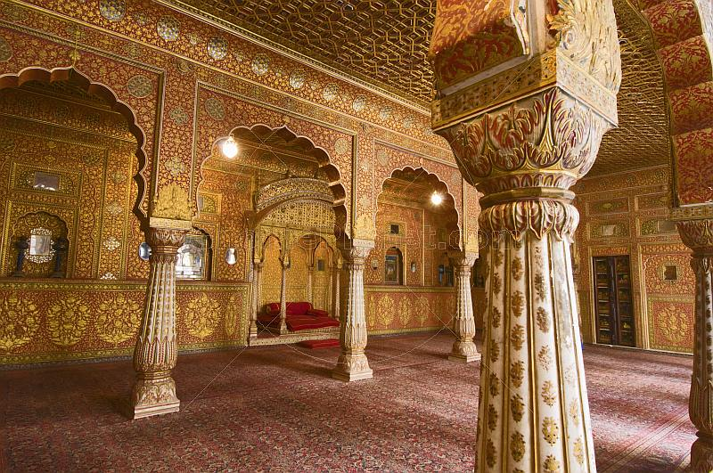 Sumptuous golden Gaj Mandir Throne Room in the Junagarh Fort.