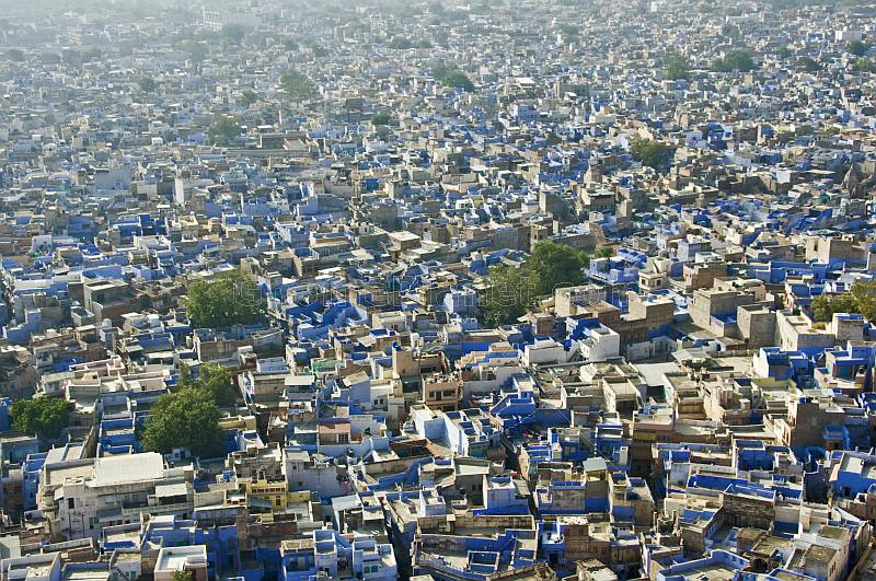Looking out across the blue-walled houses of the old town from the ramparts of the Meherangarh Fort.