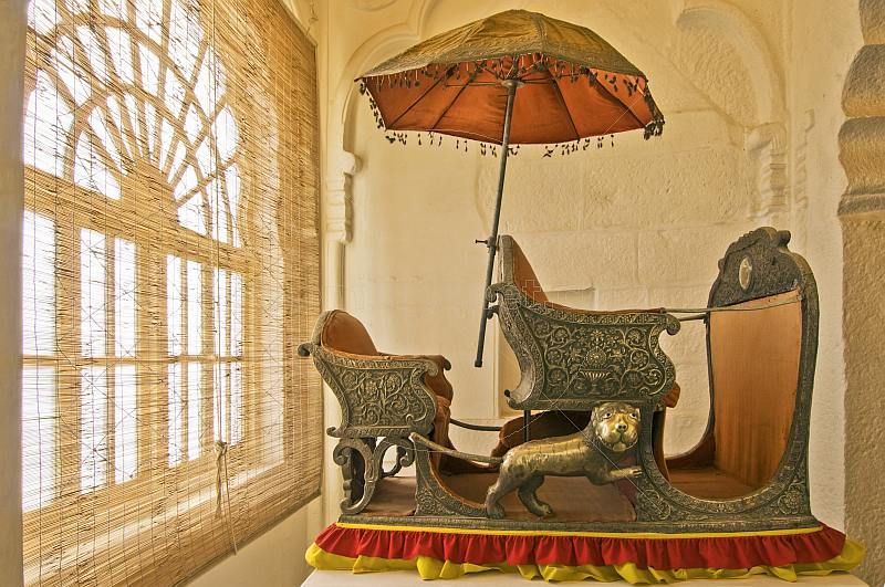 Silver elephant-howdah with parasol, at the Meherangarh Fort Palace Museum.