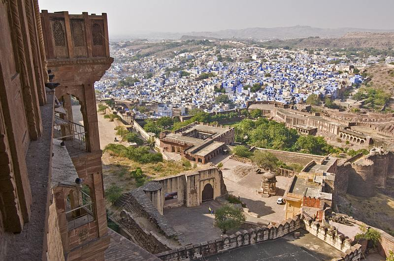 Looking out across the blue-walled houses of the old town from the rear of the Meherangarh Fort.