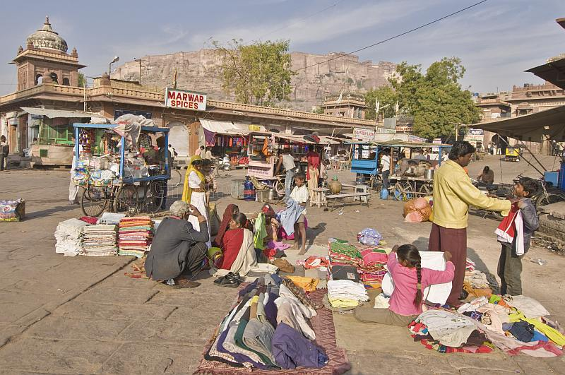 Traders sell material and clothing in Sardar Market.