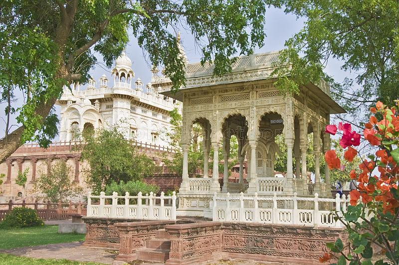A tomb and canopy in the grounds of the Jaswant Thada built 1899 from white Makrana marble.