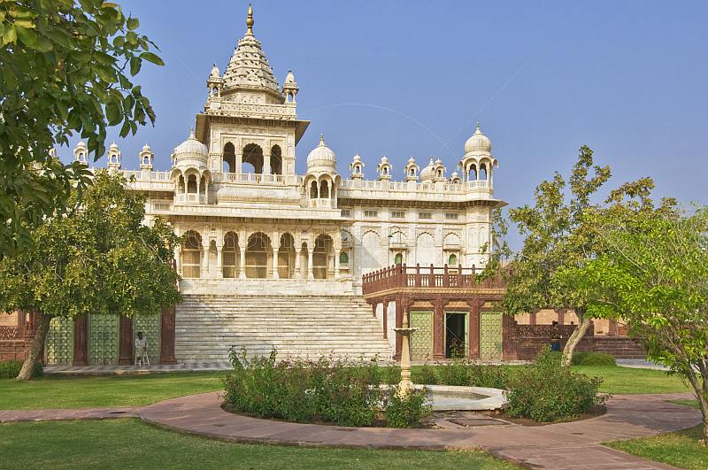 Rose gardens and fountain in the grounds of the Jaswant Thada built 1899 from white Makrana marble.