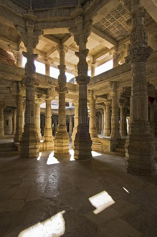Intricately carved white marble interior of the Adinatha Temple at Ranakpur.