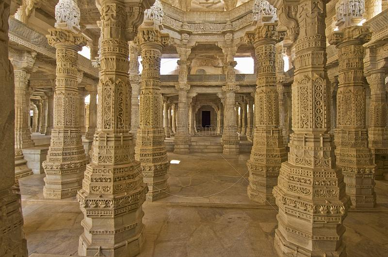 Intricately carved white marble pillars of the Adinatha Temple at Ranakpur.