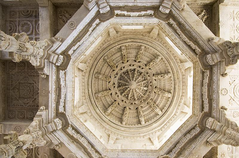 Intricately carved white marble ceiling of the Adinatha Temple at Ranakpur.