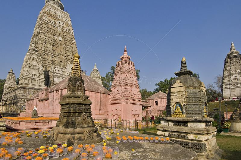Stupas and spires in front of the Mahabodhi Temple.