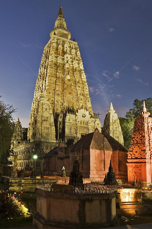 The towers of the Mahabodhi Temple at sunset.