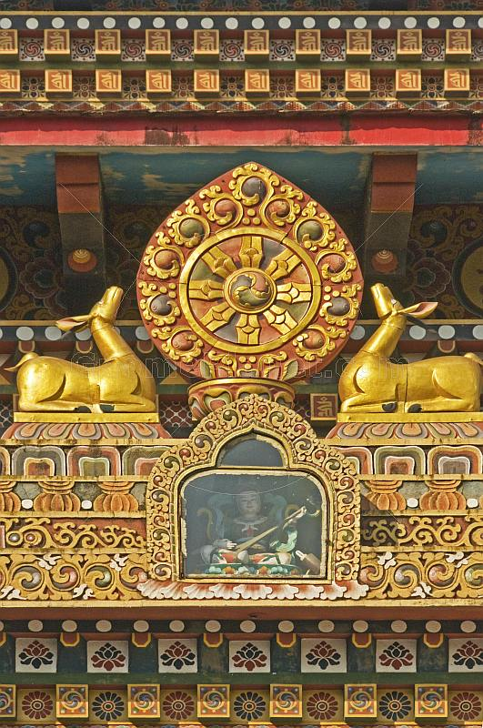 Two deer and shield on the front of the Bhutanese Buddhist Temple.
