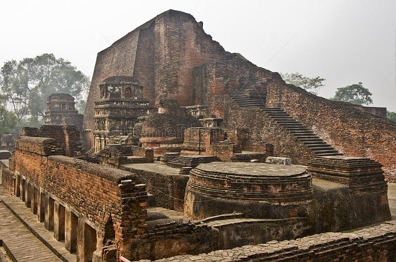 Remains of Buddhist temples and tombs at one of the worlds oldest Universities, founded in the 5thC AD.