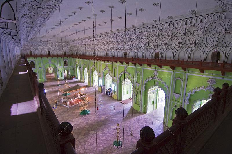 The vast interior hall of the Bara Imambara, built by Asaf-ud-Daula, is 50m long and 15m high.
