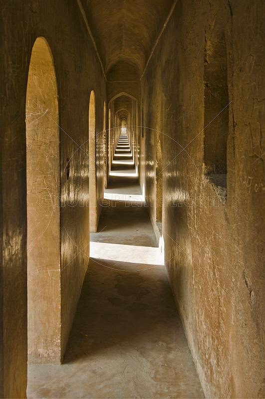One of the maze of passages above the great hall of the Bara Imambara.