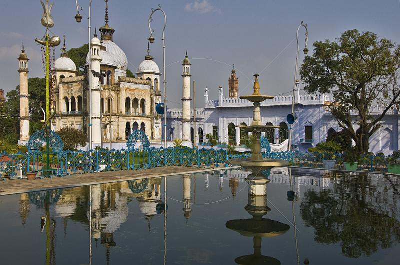 Interior mosque of the Hussainabad or Chota Imambara, set amongst fountains.