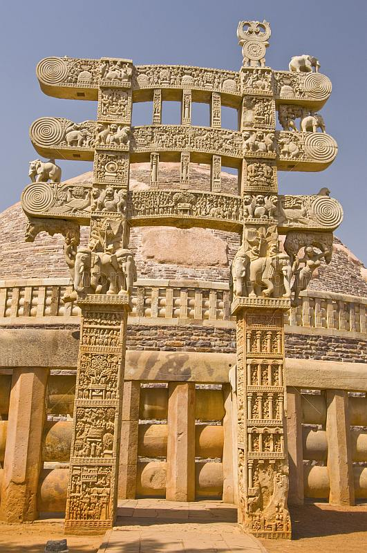 Buddhist 'Torana' or gateway to the Great Stupa of Sanchi, built in the 3rd century BC.