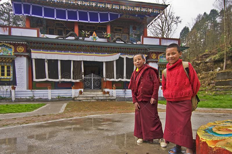 Two young trainee monks at a Buddhist Monastery.