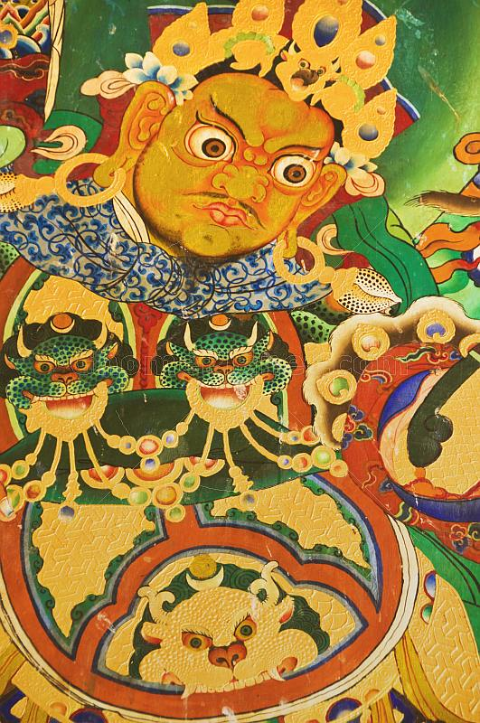 Buddhist wall painting at the Rumtek Monastery.
