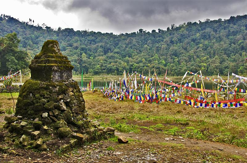 Buddhist stupa and prayer flags at Kechoperi Lake.