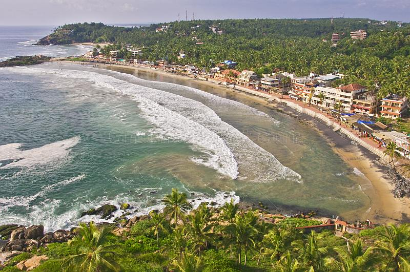 View of Kovalam Beach from the Vizhinjam Lighthouse tower.