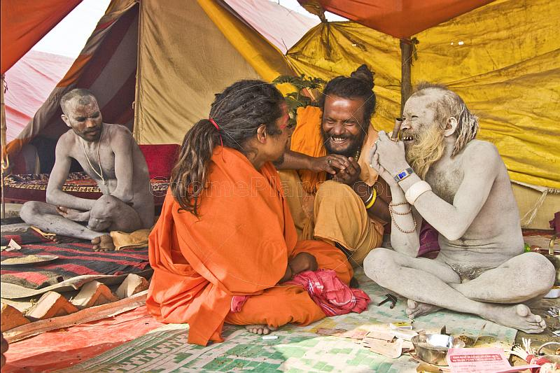 Juna Akhara Nagas share a joke at their Maha Kumbh Mela camp.