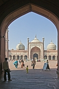 Muslim worshippers at the Jama Masjid mosque built by Shah Jahan in 1644.
