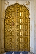 A gold-plated door in the City Palace complex.