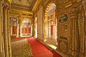 caption: Ornate gilded throne room in the Meherangarh Fort Palace Museum.