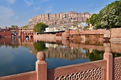 The Meherangarh Fort reflected in the still waters of the Gulab Sagar.