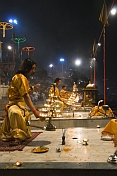 Evening 'Aarti' or fire puja performed by Hindu priests on the banks of the Ganga River.