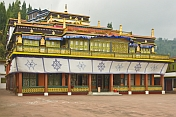 Front of the main temple in the Rumtek Buddhist Monastery.