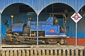 caption: No. 272 Mountaineer narrow gauge steam locomotive in the engine shed at Darjeeling Railway Staion.