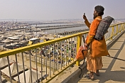 Sadhu Takes Photo Of Kumbh Mela Camp From Lal Bahadur Shastri Bridge