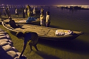 Rowing Boats Next To Bridge 18 At Ganges Yamuna Sangam In Pre-Dawn
