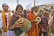 Musicians With Tabla And Cymbals In Basant Panchami Snana Procession