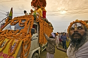 Sadu And Truck Decorated With Marigold Flowers For Basant Panchami Snana