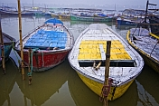 Deserted Rowing Boats Wait For Hire By Sangam Pilgrims