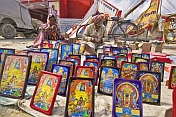 Collection Of Framed Religious Paintings For Sale At Kumbh Mela Festival
